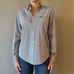 Blue and white striped Faconnable button down